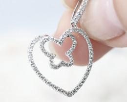 18K White Gold Diamond Pendant - H96 - P9585