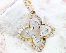 18K White & Rose Gold Diamond Pendant - H100 - P10626
