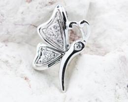 18K White Gold Diamond Pendant - H118 - P11678