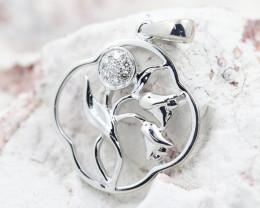 18K White Gold Diamond Pendant - H122 - P11874