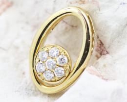18K Yellow Gold Diamond Pendant - H126 - P11873