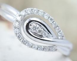 18K White Gold Diamond Ring Size O - H128 - R9552