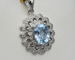 Natural Topaz, CZ and 925 Silver Pendant, Elegant Design NA 331