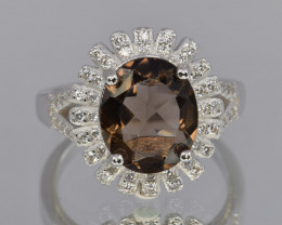 Faceted Natural Smokey Quartz , CZ and 925 Silver Ring sive P code NA 309