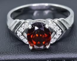Natural Rhodolite Garnet 925 Sterling Silver Ring size R NA335