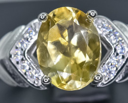 Natural Citrine 925 Sterling Silver Ring size R NA 336