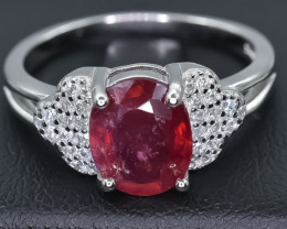 Natural Ruby 925 Sterling Silver Ring size R  NA337