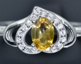 Natural Citrine  925 Sterling Silver Ring size S    NA 339