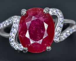 Natural Ruby 925 Sterling Silver Ring size P  NA340