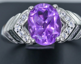 Natural Amethyst  925 Sterling Silver Ring size P  NA 341
