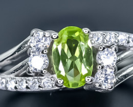 Natural Peridot  925 Sterling Silver Ring size L   code NA 342
