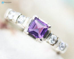 Natural Amethyst Silver Ring Size N - CH 347