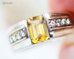 Natural Citrine Silver Ring Size N - CH 350