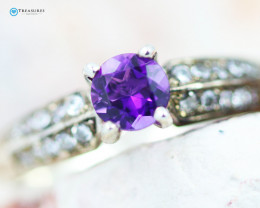 Natural Amethyst Silver Ring Size N - CH 351