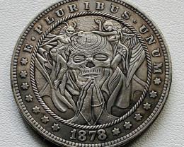 Hobo Coin Skull praying  Art Form Design   CP 511