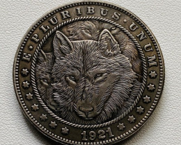 Hobo Coin Wolf  Art Form Design   CP 522