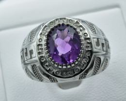 Natural Amethyst Silver Ring size T     code  NA 355