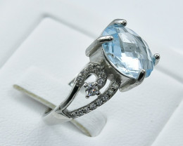 Natural Topaz 925 Sterling Silver Ring size n CODE  NA 357