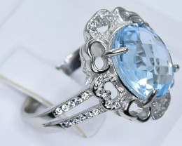 Natural Topaz 925 Sterling Silver Ring size Q     code  NA 359