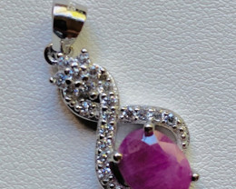 Natural Ruby 925 Sterling Silver pendant  code NA 363