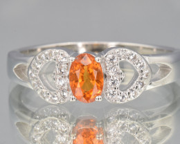 Super  faceted Citrine silver ring size R code NA 428
