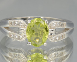 Natural fresh Peridot  silver ring size N code NA 434