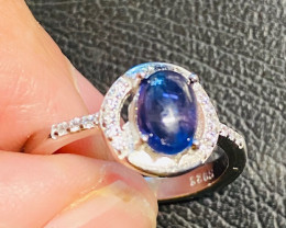 natural lOLITE   blue silver ring size pode NA 426