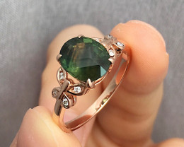 14k Rose Gold  Green Sapphire Ring Size N   code NA 441
