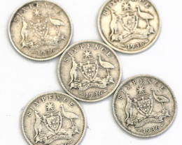 Four Australian Sixpence  1936  .925 Silver Code CP 604