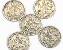 One Australian Shilling 1936  .925 Silver Code CP 604