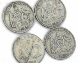 One Australian Sixpence 1952 .500 silver  CP 606