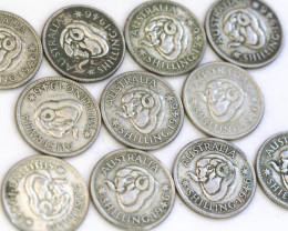 One Australian Shilling 1946  .500 silver CP 607