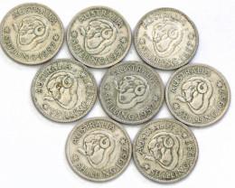 One Australian Shilling 1957  .500 silver cp 611