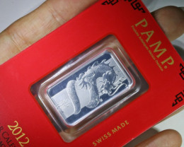 10 GRAM PAMP SILVER .999  BAR  LUNAR DRAGON MINTED