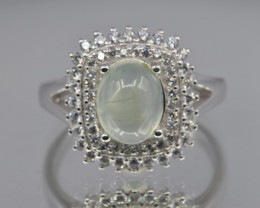 Ausise Prehnite sterling silver Ring size S  code  NA 443