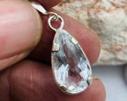 Beautiful Faceted chalcedony crystal,Tibetan silver Pendant NA 469