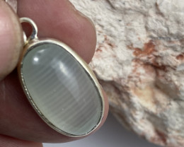 Beautiful cabochon chalcedony lines,Tibetan silver Pendant NA 473