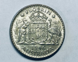 One  Uncirculated Australian Florin 1946 post war  .500 silver CP 613