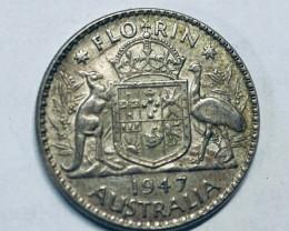 One  Uncirculated Australian Florin 1947 post war  .500 silver CP 614
