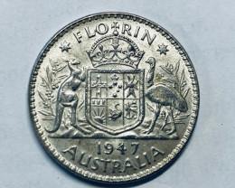 One  Uncirculated Australian Florin 1947 post war  .500 silver CP 615