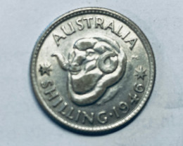 One Uncirculated  Australian Shilling 1946  .500 silver CP 617