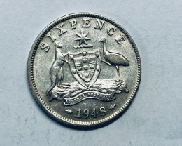 One Australian Sixpence 1959 .500 silver  CP 620