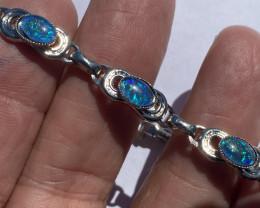 Aussie fire Triplet  opal silver  plated bracelet code NA 488