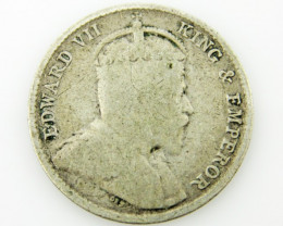1902 Straits Settlement 5 cents  .750 silver . coin CO 2051