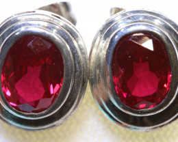 16.90 CTS  RUBY SILVER EARRINGS RJA-1183