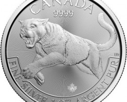 2016 canadian cougar one ounce 9999 pure silver coin