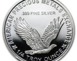 1/4 Oz  .999 pure silver Liberty .American precious Metals