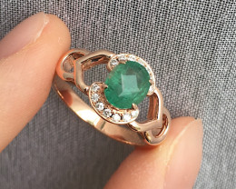 Natural Emerald Diamonds Rose Gold 14 kRing size M code NA 490