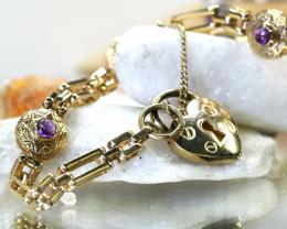 17 .08 Grams 9 K Gold Amethyst Bracelet code L 426