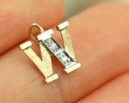0.439 Grams 9 K -  W 2Diamonds Gold Pendant [T63]